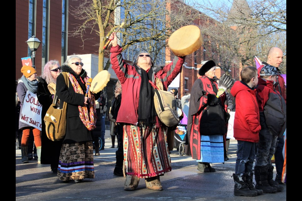 Dozens of people attended a rally Saturday in downtown Orillia to show solidarity with Wet'suwet'en First Nation. Nathan Taylor/OrilliaMatters