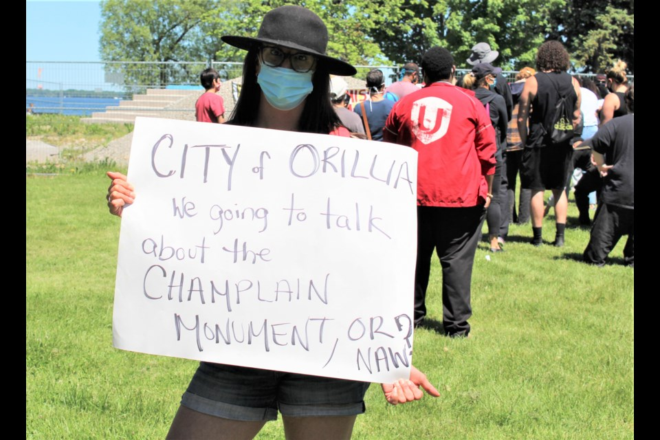 Miranda Minassian is organizing a rally that will take place July 1 at Couchiching Beach Park to protest the impending return of the Champlain Monument. Nathan Taylor/OrilliaMatters file photo