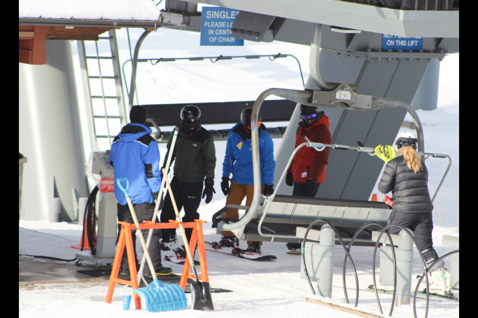 Skiers get ready to ride the lift at Mount St. Louis Moonstone in this file photo. Nathan Taylor/OrilliaMatters