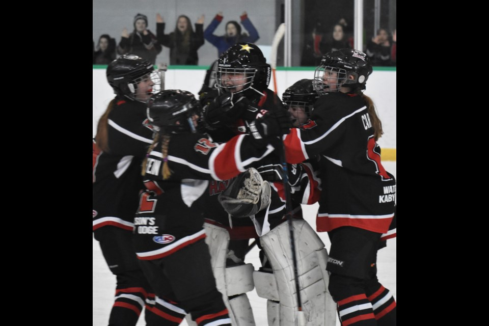 The Orillia Hawks scrambled off their bench to celebrate their peewee division championship Sunday after beating Twin Centre 1-0. With the victory at Rotary Place, Orillia earned the title at their home tourney. Dave Dawson/OrilliaMatters