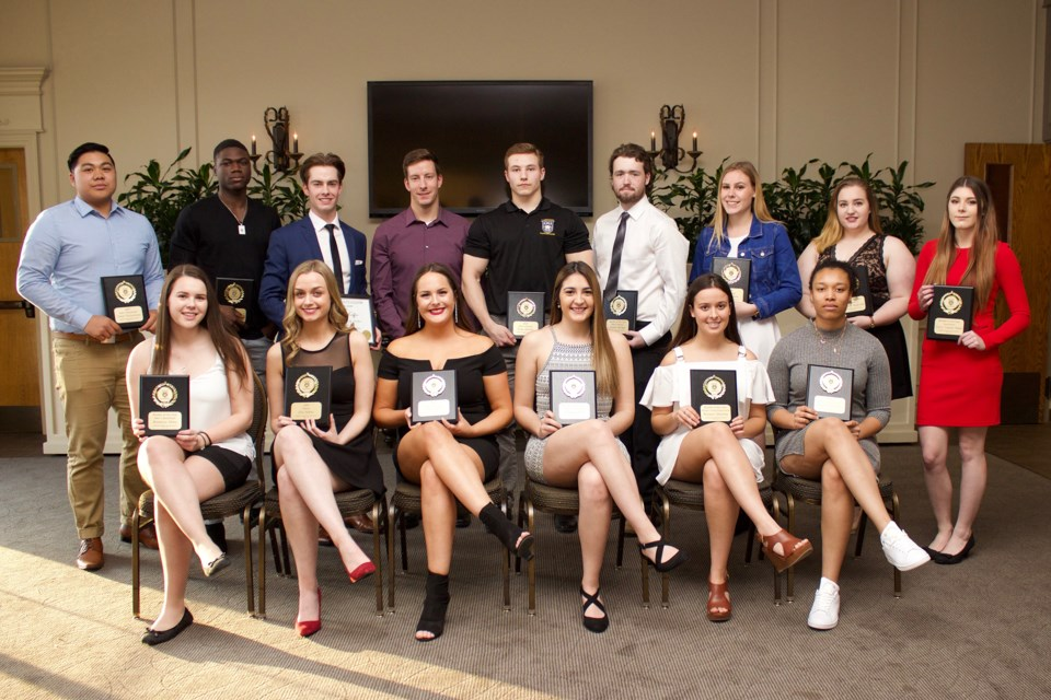 Pictured are the students who received most valuable player (MVP) and rookie of the year awards in each of Lakehead Orillia's sports teams: equestrian, men's and women's hockey, dance, men's and women's soccer, and men's basketball.
