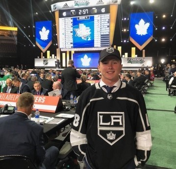 Aidan Dudas was selected by the Los Angeles Kings in the fourth round of the NHL entry draft Saturday. He was excited to don the Kings jersey for the first time.