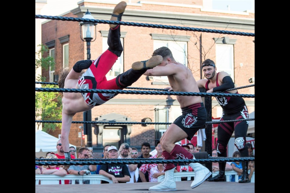 A flying dropkick was delivered by Vaughn Vertigo during a 400 North tag-team championship bout Sunday. Tyler Evans for OrilliaMatters