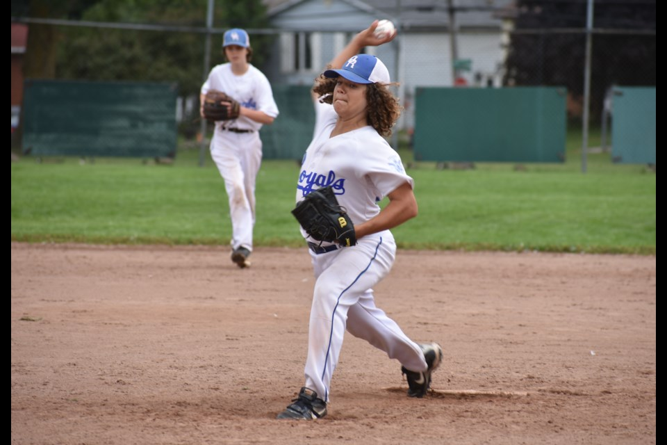 Orillia Royals pitcher Reece Boyle throws a strike during action against Cambridge in 2018. Dave Dawson/OrilliaMatters file photo