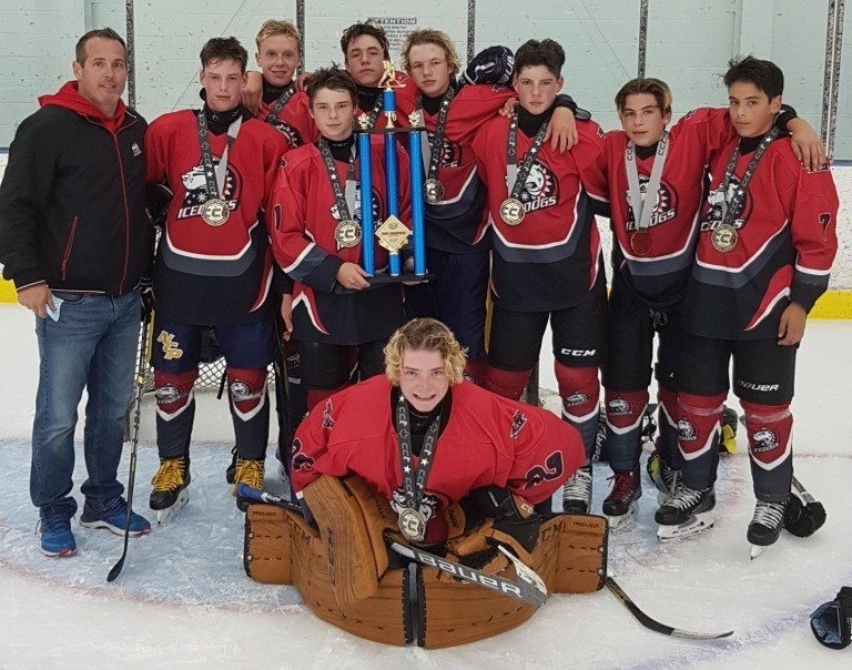 Orillia U15 Ice Dogs championship photo at the CCT Summer Send-off tournament September 19, 2020.  Team Members Include: Nate Fogarty, Connor Varley, Logan Shannon, Ethan Procyszyn, Issac Larmand, Jarad Osborn, Bennett Mackey, Camron Weishar and goalie Colton Drillen-Roach.  Coach is Mike Fogarty.  Team Sponsor Desjardins Insurance - Murray Hoffstetter.