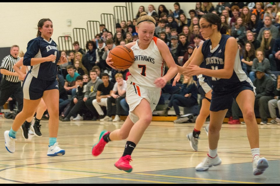 The OSS Nighthawks were led by some clutch scoring by Ally Smith, above, who registered 15 points in Wednesday night's GBSAA senior girls basketball final. The Nighthawks triumphed over the St. Joan of Arc Knights 63-41. Tyler Evans/OrilliaMatters