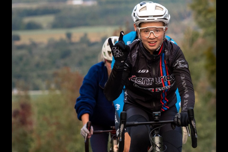 Orillia's Ava Holmgren cycled the equivalent of Mount Everest by climbing Scenic Cave Road 44 times. She completed the amazing feat - climbing up the 2.3 km hill in Collingwood - 44 times in under 14 hours. Jody Wilson Photography