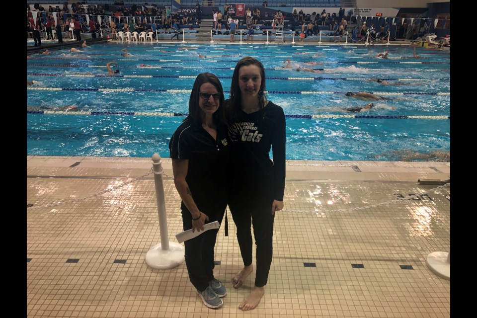 Coach Meredith Thompson-Edwards and Blythe Wieclawek at Ontario Junior International. Photo provided by the Orillia Channel Cats