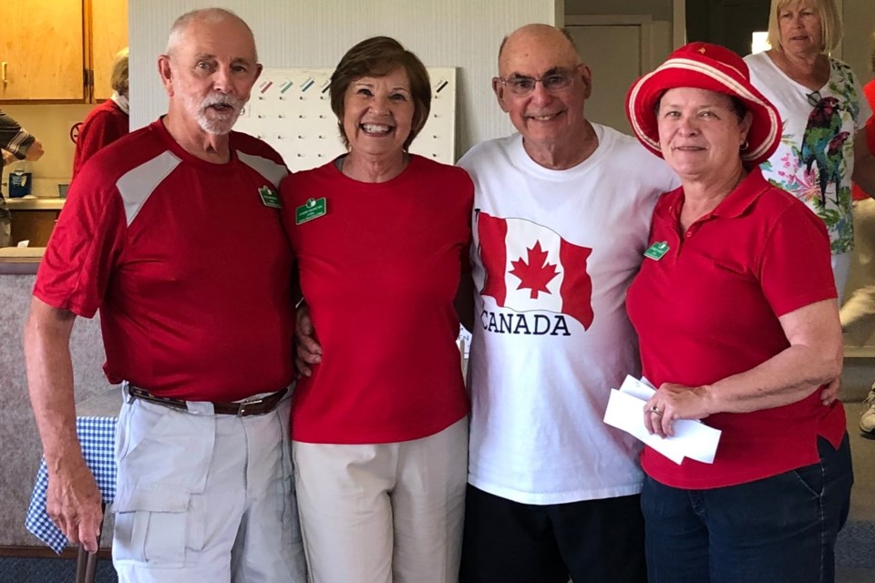 Here are your winners of the Canada Day event at the Orillia Lawn Bowling Club. From left: Drawmaster Rick Stinson, Cheri Duncan, Paul Evans and Shirley Healy (Absent: Karl Lieber).