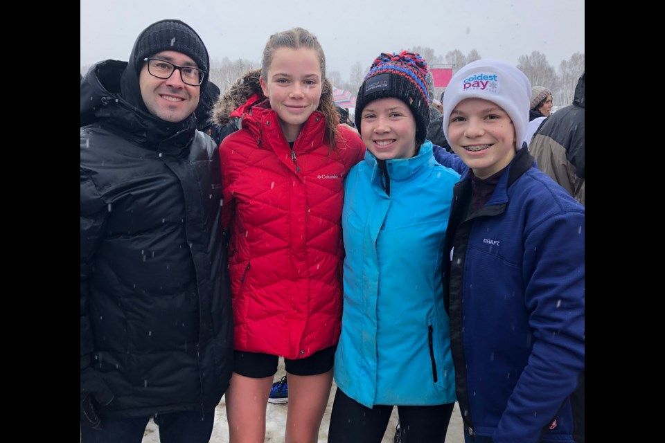 These girls were among the local athletes who shone at this weekend's provincial cross-country running championship in Sudbury. From left: Jean Theriault (teacher from Nouvelle Alliance), Isabella Holmgren, Ava Holmgren and Anna Jaklova. Contributed photo