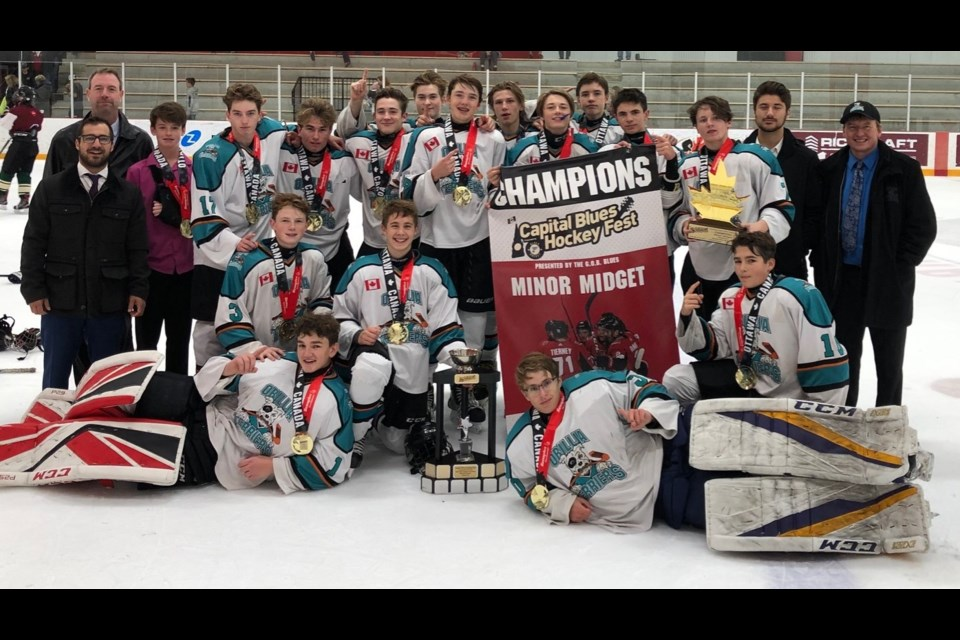 The Orillia Scotiabank minor midgets won the Capital Blues Hockey Fest. In the back row, from left: Owen Palaro, Jace Gilbert, Andrew Thorn, Jonah Teahen, Owenn Banks, Whyatt Winkel, Carter Barnard, Brock Jeffels, Jhett Winkel, Sam Trumble and Tye Snellman. In the front row: Connor Flannery, Kaiden Robitaille and Sam Laughlin. Goalies, Kamden McIvor and Colby Small. Absent Quinn McConnel. Coaches: Chris Marinakos, Mike Greco, Chris Palaro and Wes Winkel. Contributed photo