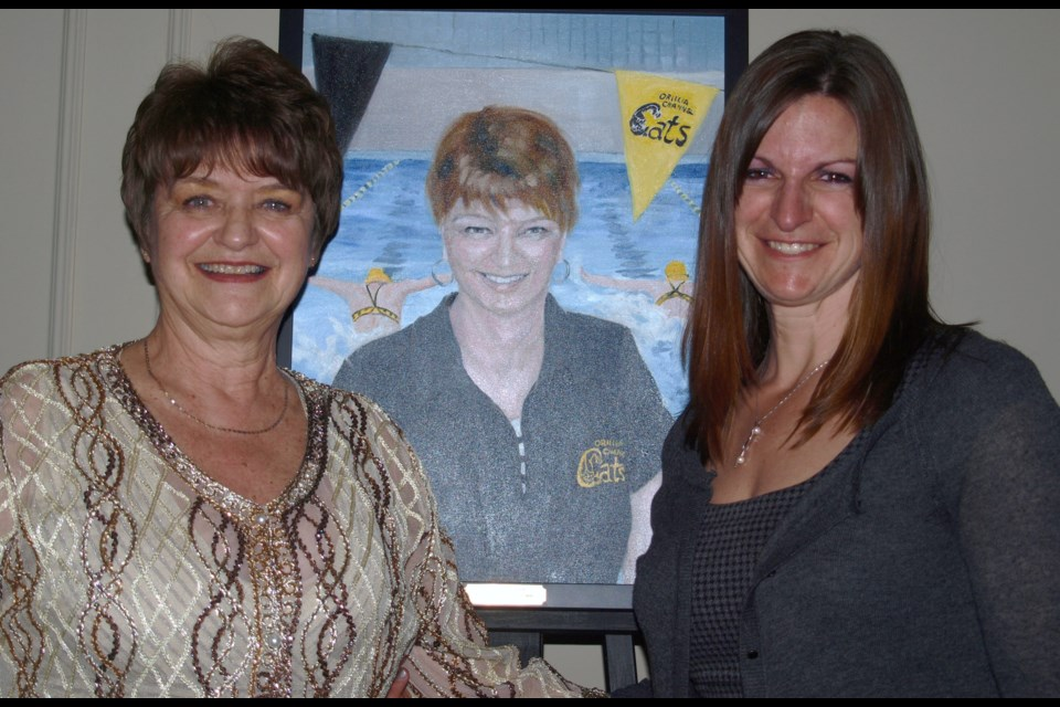 Elaine Thompson was among the first class of inductees into the Orillia Sports Hall of Fame in 2015. She is shown at the ceremony with her daughter, Meredith Thompson-Edwards. Elaine Thompson died Feb. 29. Dave Dawson/OrilliaMatters File Photo