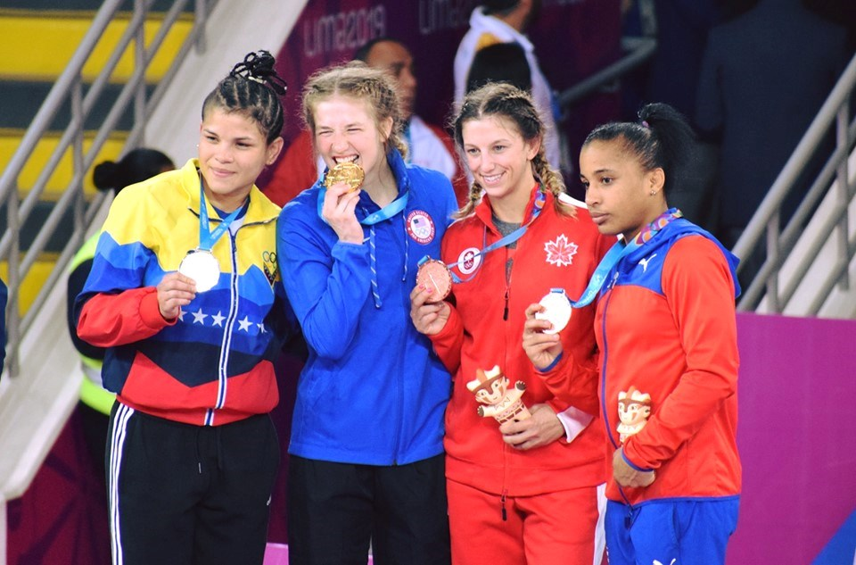ODCVI grad and Orillian Jade Parsons, third from left, won a bronze medal at this weekend's 2019 Pan American Games in Lima Peru.