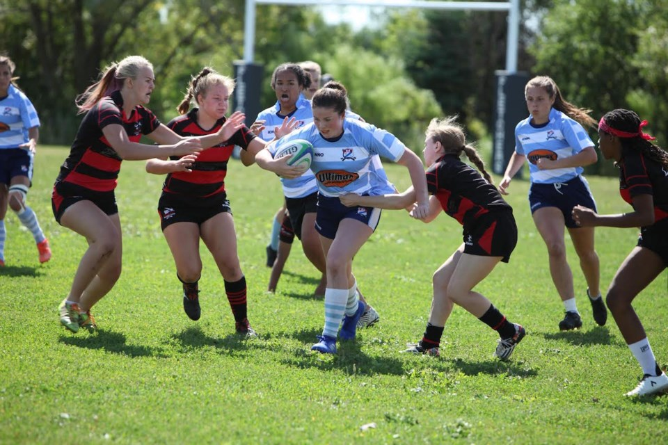 15-year-old Ryan Dunn brought her fearless spirit and leadership to the under-19 Provincial Championship winning Barrie Rugby Club.Contributed photo