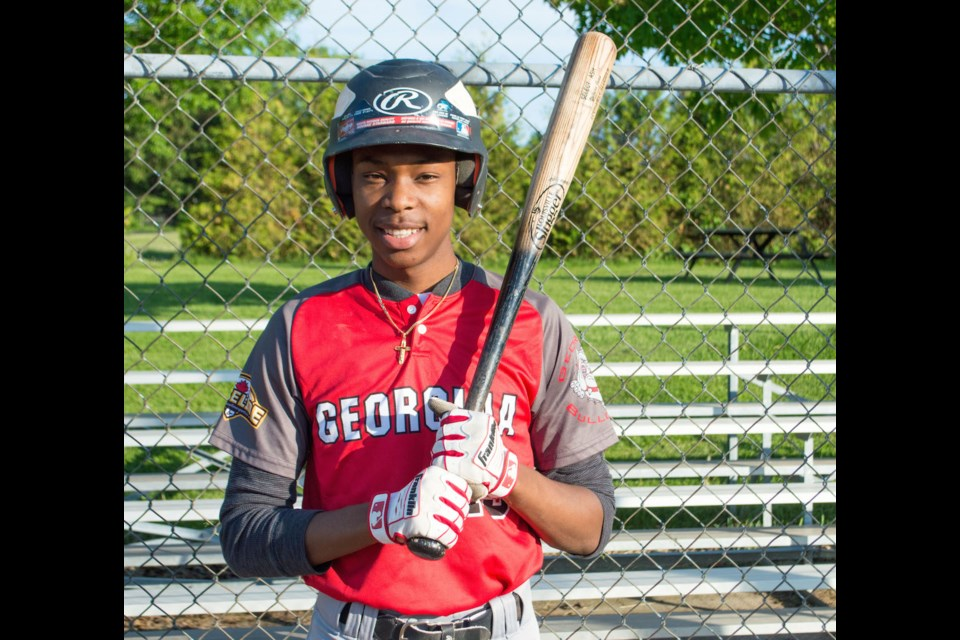 Patrick Fogarty graduate Yojairo Juan is swinging for the fences, trying to land himself a spot with a college-level baseball team in the United States. Tyler Evans/OrilliaMatters