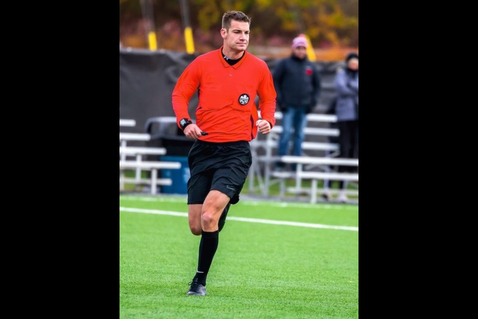 Former Park Street Collegiate  Institute soccer player Brad Doubrough has used his thick skin and top-notch work ethic to climb the provincial soccer refereeing ranks. His goal is to one day officiate on the World Cup stage. Contributed photo