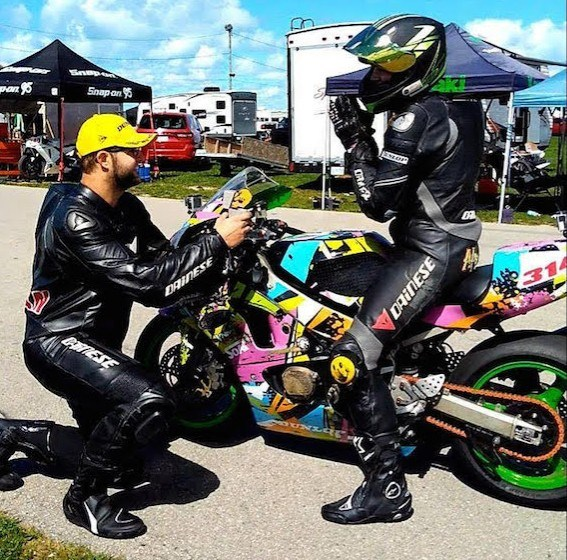 Kyle Newman met his future bride thanks to motorcycling so proposing at track side, before a ride, seemed natural. Melanie, of course, said yes. Contributed photo