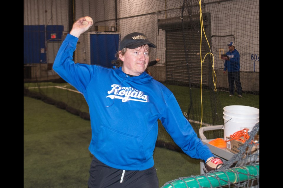 Wes Winkel is shown pitching to kids during a practice at the Orillia Legion Minor Baseball Association indoor training facility before the pandemic forced its closure. Tyler Evans/OrilliaMatters