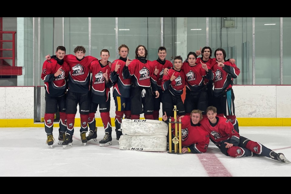 The U18 Starport Marina Ice Dogs won the 2021 U18 CCT King of the Rings event. From left: Alex Lucas (#12), Peter Conway (#18), Curtis Misner (#19), Isaac Larmand (#73), Ajay Guitard (#22), Mason Burnett (#8), Owen Lamoureux (#69), Trenten Marlow (#92), Xander Roy (#9) and Thomas Bovett (#49).  Front Row: Goalie Tucker Northcott (#29) and Kieran McConaghy (#91).  Absent: Owen Buckland (#15).  Coach is Tim McConaghy, Trainer Glen Conway.  Team Sponsor is Starport Marina.