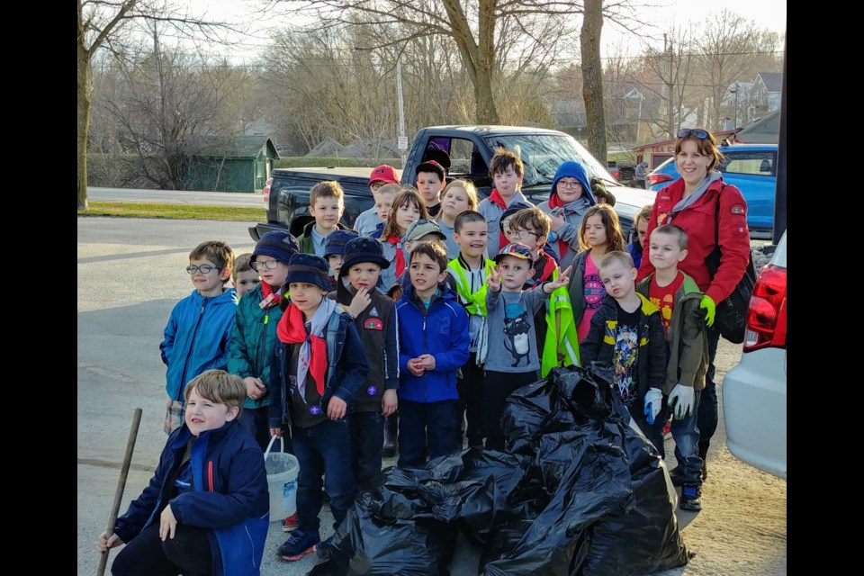 Orillia Scouts clean up the neighbourhood. Supplied photo
