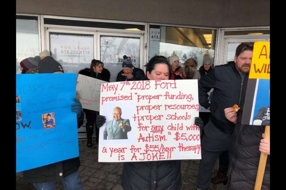 Protest against Autism funding changes. Photo: Chris Kurys