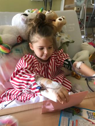 Photo of Hillary McKibbin, 5, in hospital.