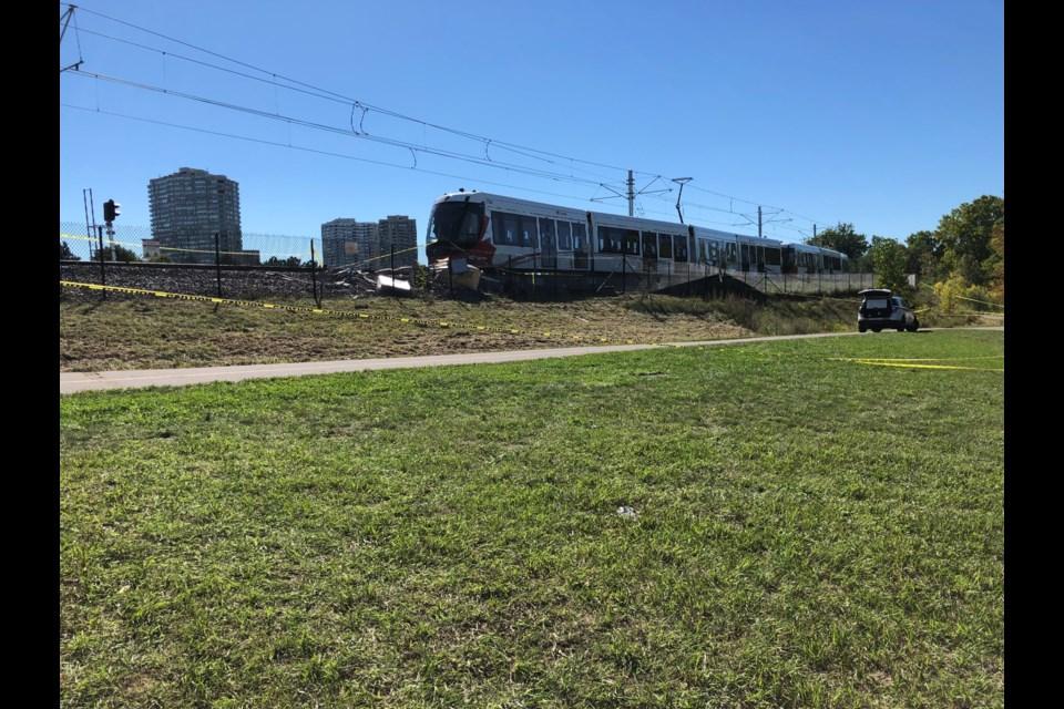 LRT Line 1 train derailment. September 19, 2021. (Photo/Deborah Reiter)
