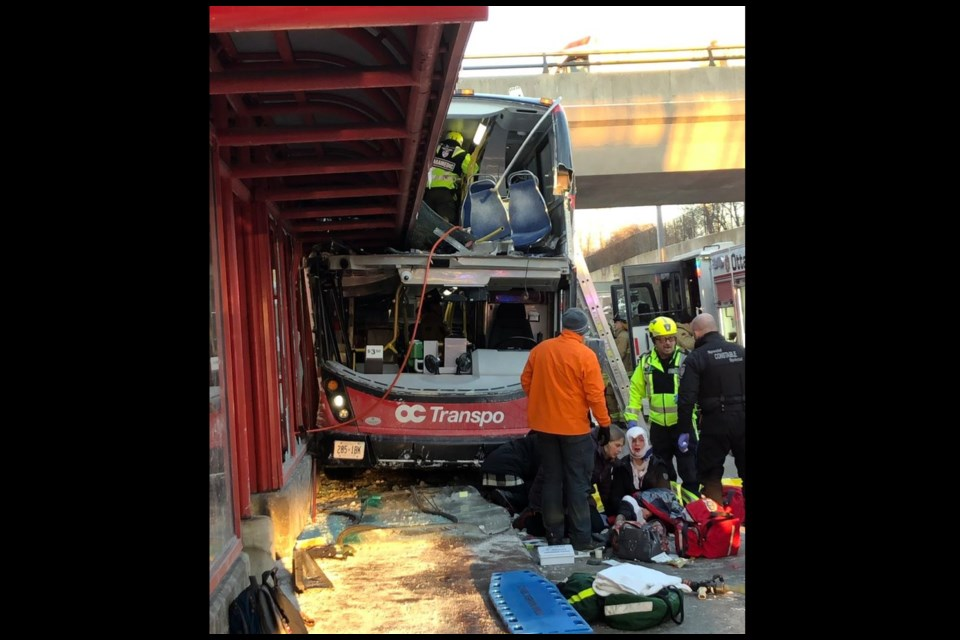 Serious bus crash at Westboro Station. Photo/ Karina Wieser