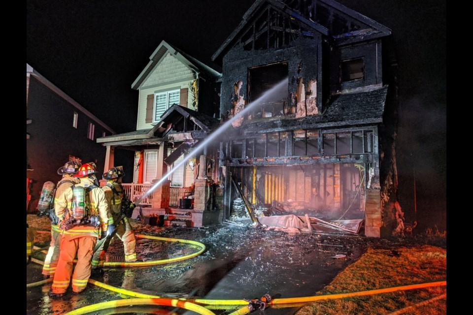 Fire on Nordmann Fir Court, March 27, 2021. Photo/ Scott Stilborn/ Ottawa Fore Services