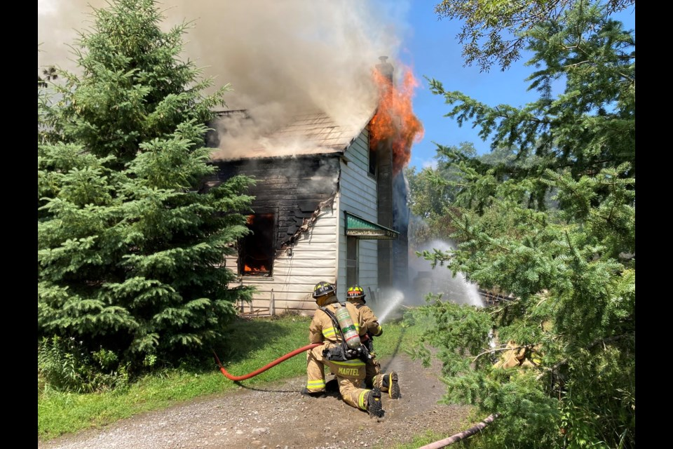 House fire on Malakoff Road, near Cowell Road, north of Kemptville, July 23, 2021. Photo/ Ottawa Fire Services