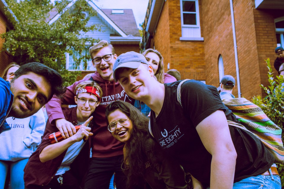 Students from both uOttawa and Carleton descended upon Nelson Street in Sandy Hill to party before the football game.