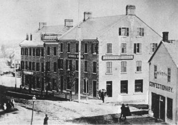 The original Russell House Hotel, formerly Campbell's Hotel, c. 1864, Library and Archives Canada, C-002567B
