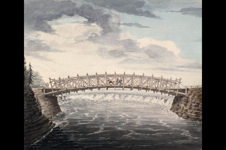 Truss Bridge over the Chaudière Falls, Ottawa River, watercolour by John Burrows, 1828. Photo/ Library and Archives Canada, No. 1936-60-1.