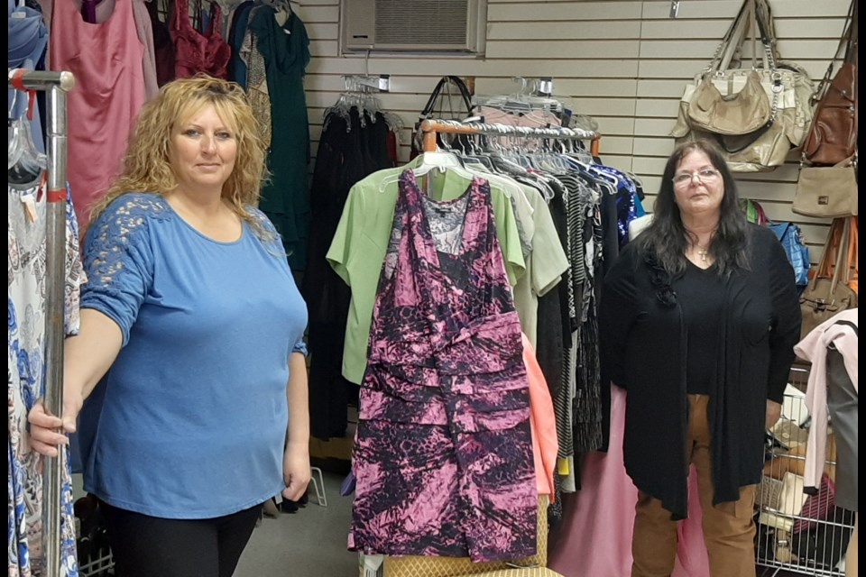 Teresa Hack (left) started a GoFundMe account to help cover the costs of operating Got You In Mind thrift store first opened by Blanche Mirault (right) in 2013. She said the COVID lockdown may force the closure of the store. Ms. Mirault's store provides not only basic items for sale, but more importantly Ms. Mirault provides a safe place for those suffering from mental illness, addiction or are homeless.  Photo/ Bruce MacIntyre