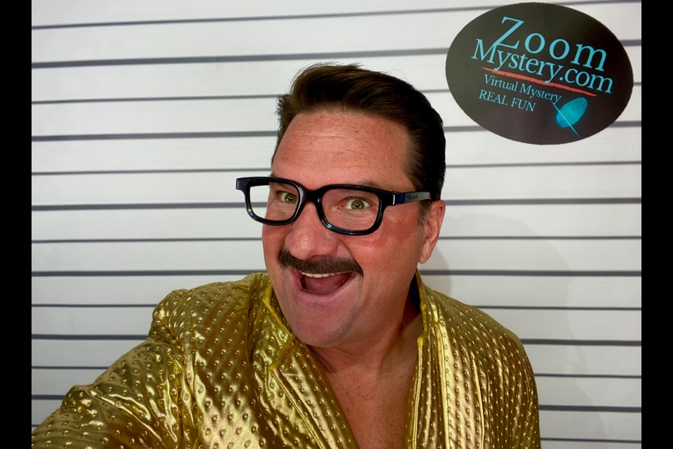 Peter Dillon as a Zoom Mysteries host. Photo/ Peter Dillon