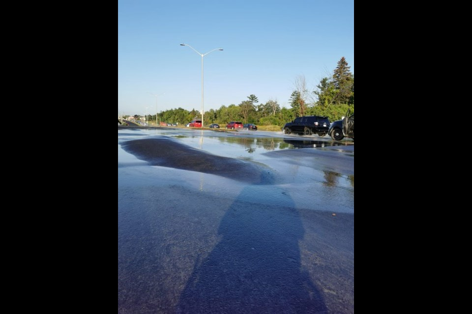 Innes Road closed to eastbound traffic at Blair Road after broken watermain floods roadway on Tuesday, August 31. PHOTO/ OPS Traffic Unit