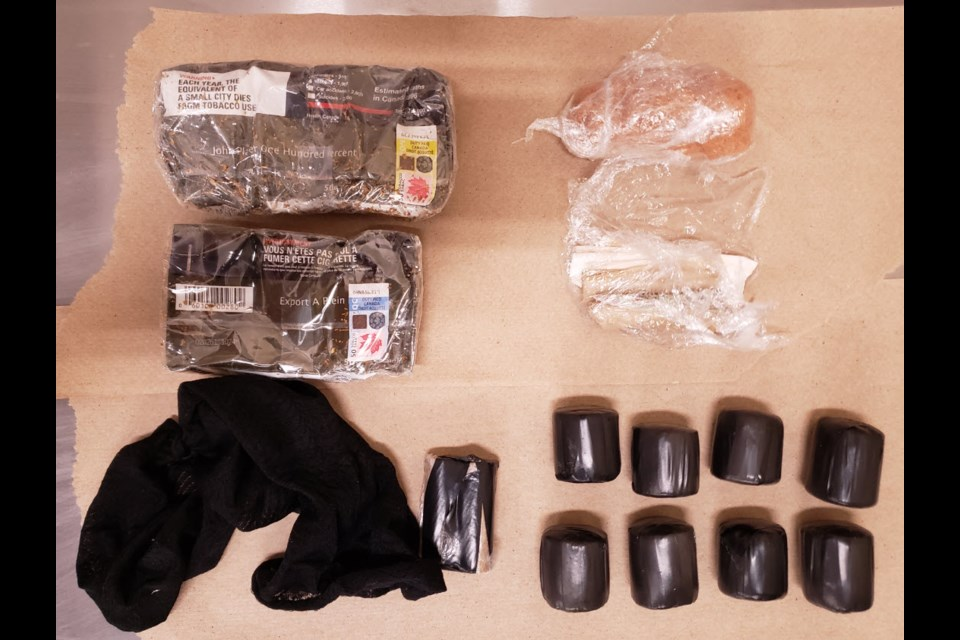 Contraband collected in package dropped by drone at Collins Bay Institution in Kingston, March 24, 2020. Photo/ Kingston Police Service