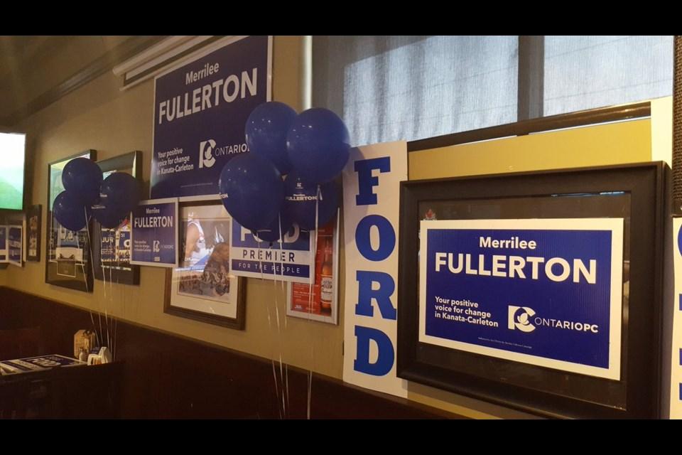 Merrilee Fullerton's party before her win in Kanata-Carleton. Jason White/ OttawaMatters