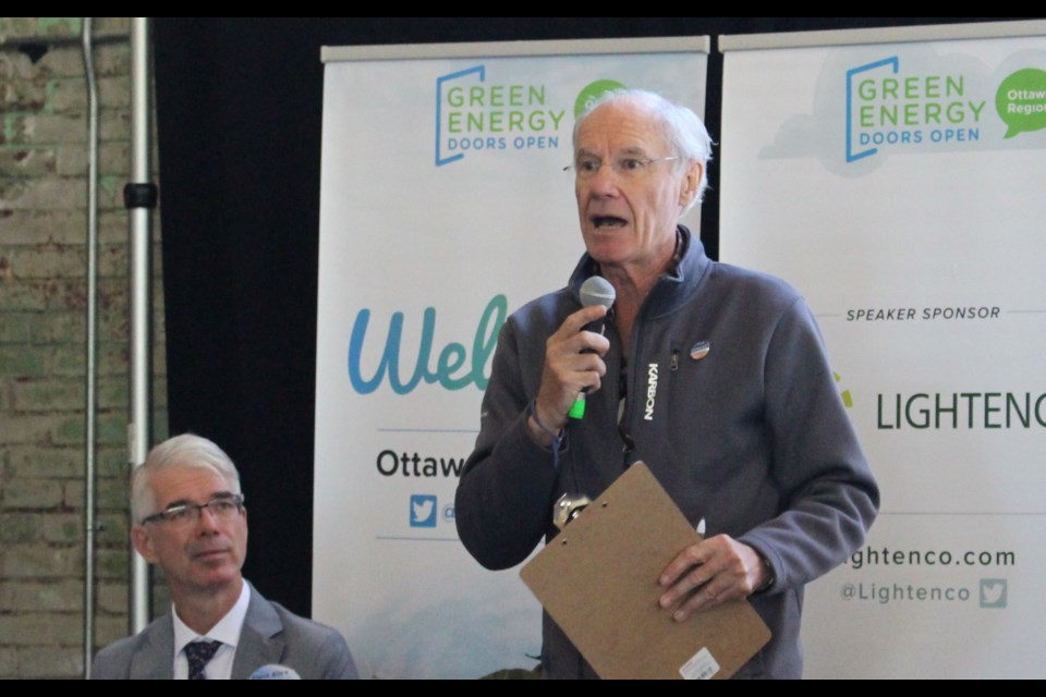 Mayoral candidate Clive Doucet said his plan to create a regional rail network will get people moving and cars off the road at a debate focused on environmental issues on Sept. 22. Drew May/ OttawaMatters.com
