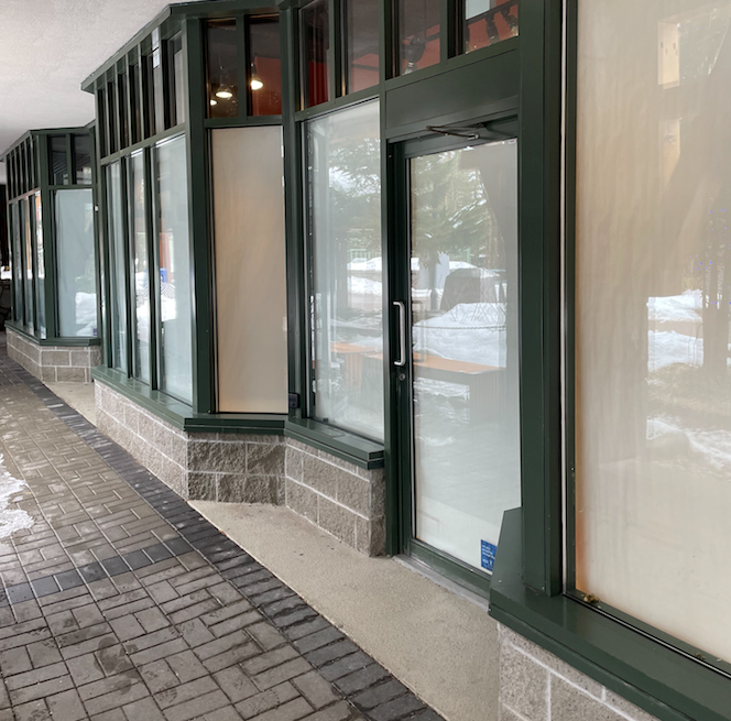 whistler village businesses - storefronts closed