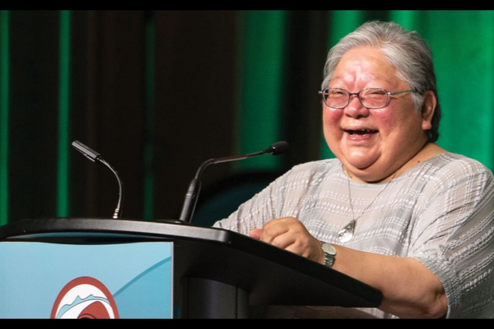 Wanosts'a7Dr LornaWilliams', pictured here speaking at theHELISET TTE SK´ÁL 'Let the Languages Live' conference in June 2019.  Photo submitted