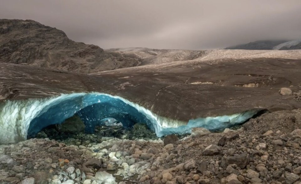 Ice cave in Pemberton Icefield