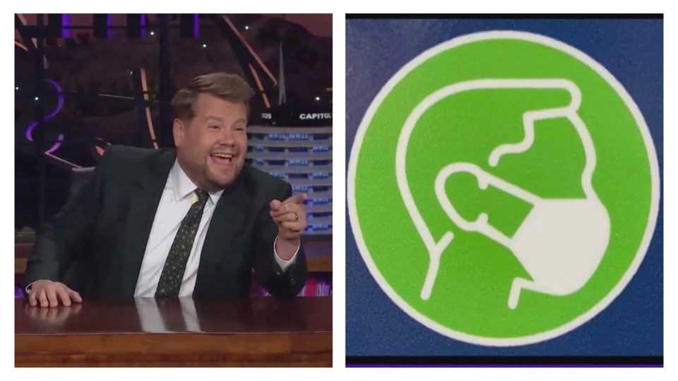 James corden late late show bc ferries mask sign