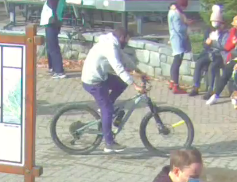 A security still of a suspect connected to the recent theft of a mountain bike from Mountain Square.  PHOTO COURTESY OF THE RCMP