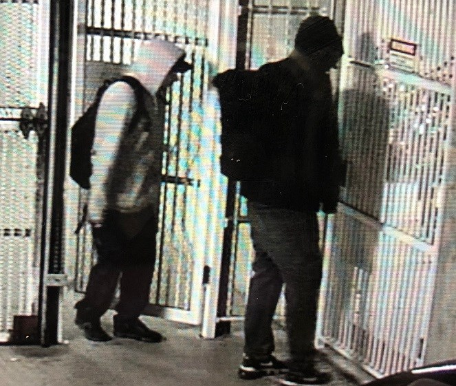 A still from security footage of a pair of suspects linked to two vehicle break-ins this week.  IMAGE COURTESY OF WHISTLER RCMP