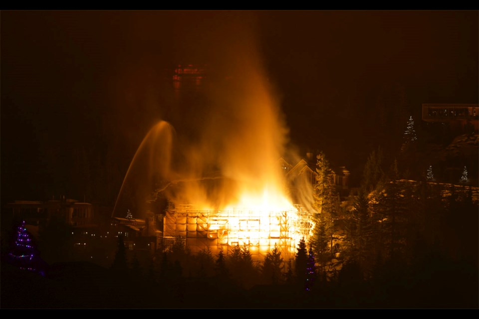 An under-construction building on Sunridge Drive in Whistler's Brio neighbourhood went up in flames on Friday, Jan. 15. The fire is under investigation. Photo by Steve Burgess.