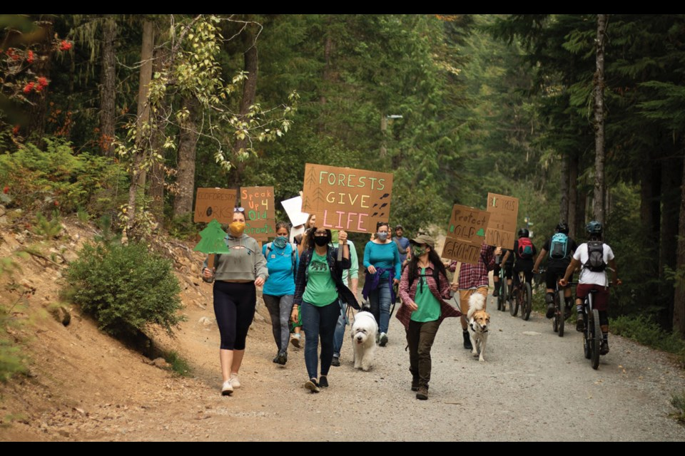 "FOR THE FORESTS Approximately 20 locals joined the Whistler Naturalists and British Columbians across the province in a physically-distanced ""Forest March"" on Friday, Sept. 18, held in support ""furthering the provincial government's changes to the Forest and Range Practices Act to ensure they include eco-system restoration, sustainable forestry, and meaningful community consultation about our forests.""