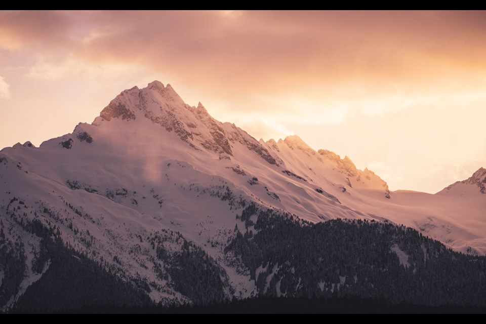 TANTALUS TONES One benefit of sunny March days? Golden sunsets like the one pictured here, over the Tantalus Range south of Whistler.