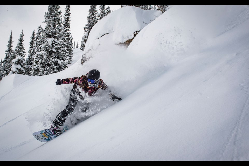 Natural Feeling Robin Van Gyn puts in a run on the Natural Selection test event course in Jackson Hole on Jan. 27, 2020.