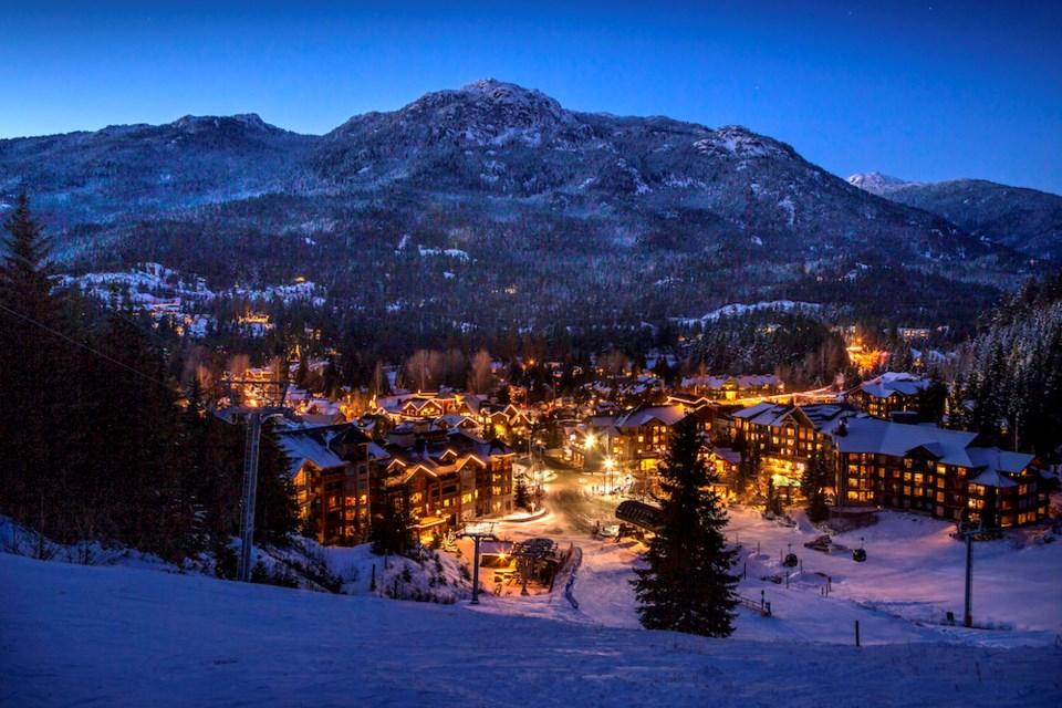 Whistler Village - Whistler Blackcomb lifts - at night